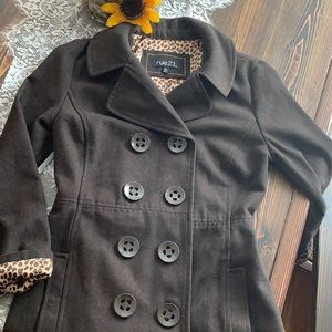Rue 21 Brown Leopard Lined Pea Coat